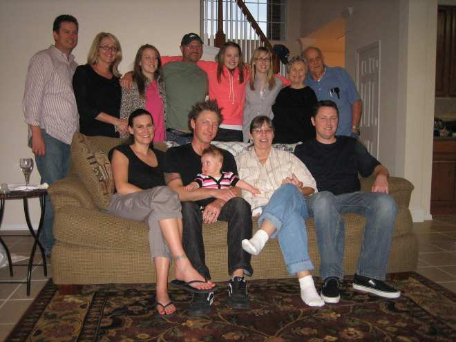 Front row: Cindy, Josh, Calista, Charlotte and Chris.  Back row: Darren, Kym, Alison, Donald, Haley, Christina, Pauline and Don.