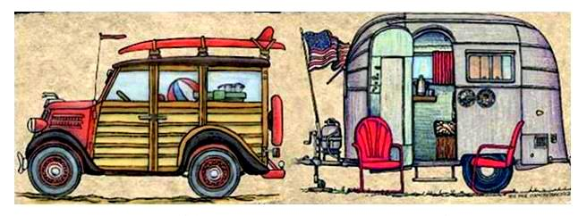 Bill and Kit's Woody and Airstream-2015
