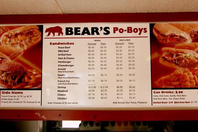 Bear's Menu