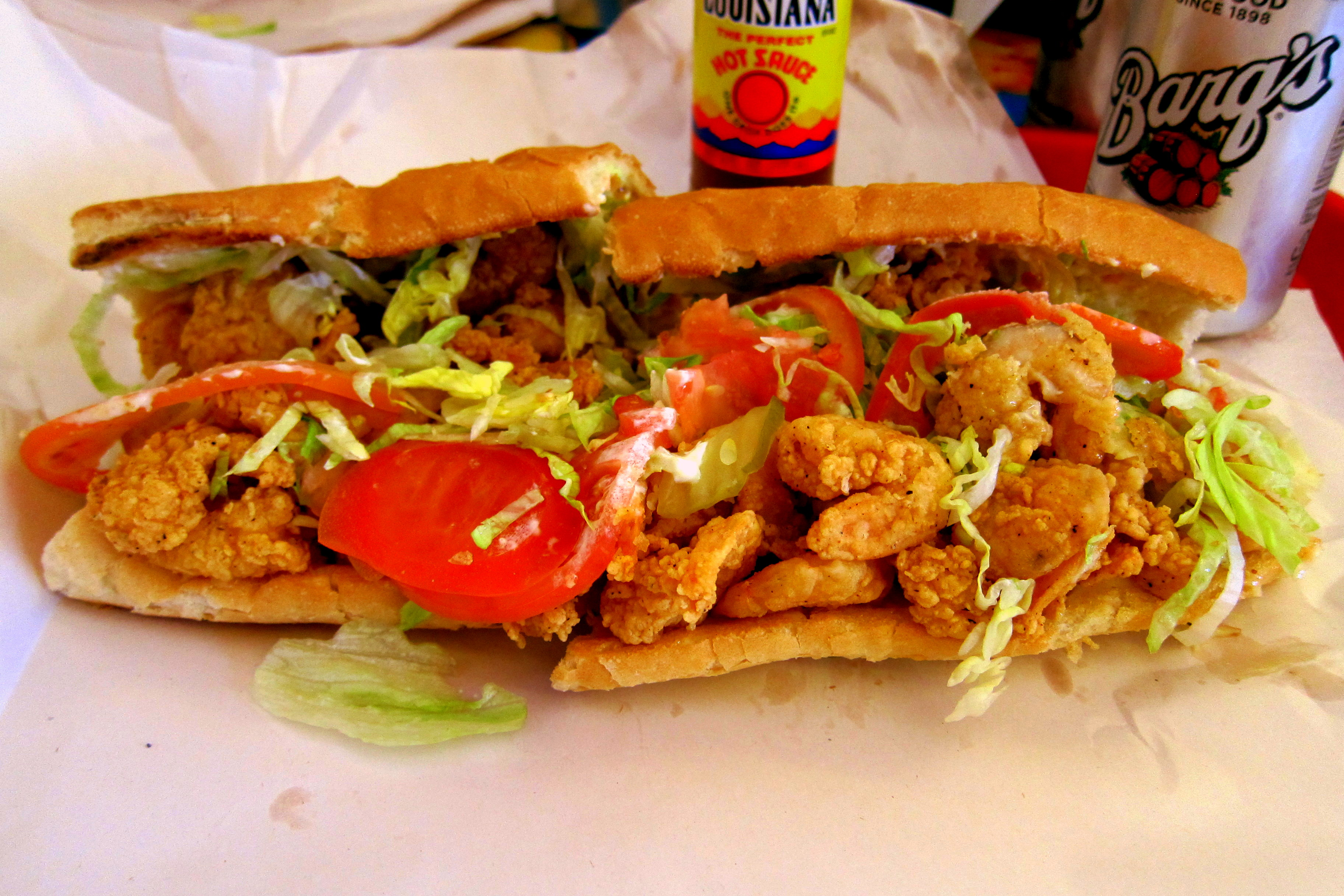 That's a Shrimp Po-Boy we each enjoyed and it came loaded! As were ...