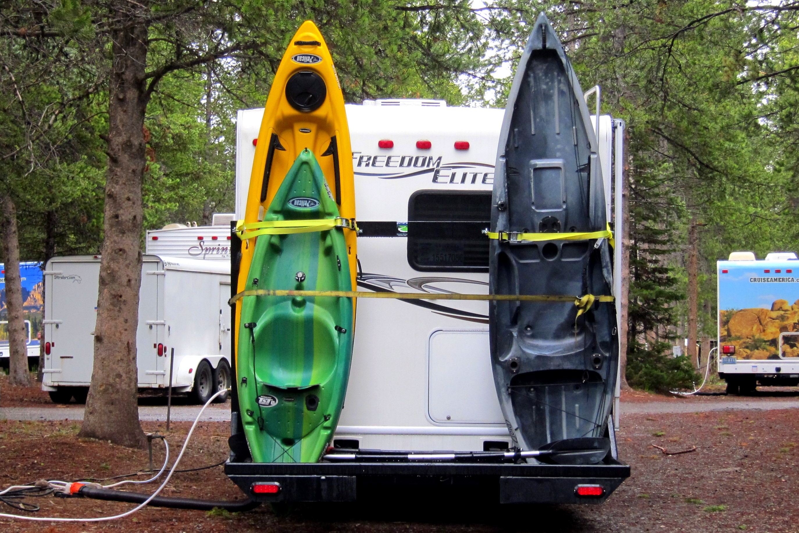 pin kayak by rv and on racks rack camper brede pinterest life patty camping vacation